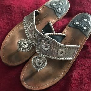 Jack Rogers silver snakeskin sandals Ladies size9